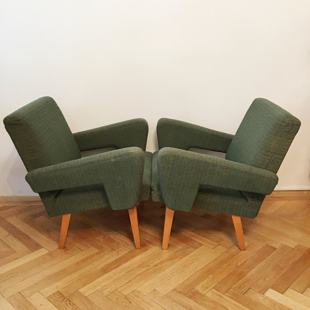 Pair of Green Vintage Rocket Armchairs by Jitona, 1960s