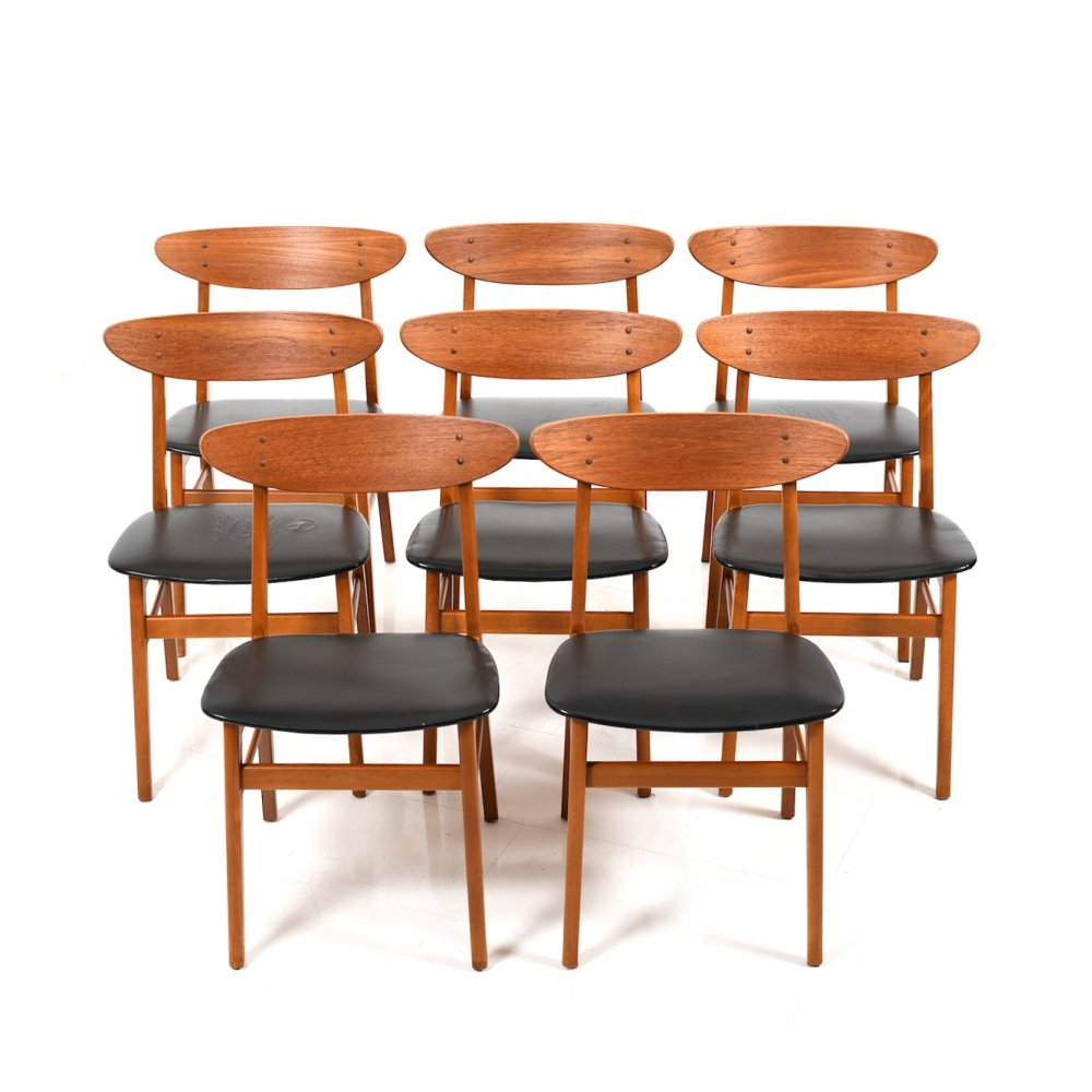Set of 8 Farstrup Dining Chairs in Teak & Beech, 1950s