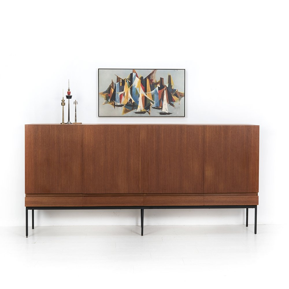 Minimalistic teak highboard by Dieter Waeckerlin for Behr, 1958