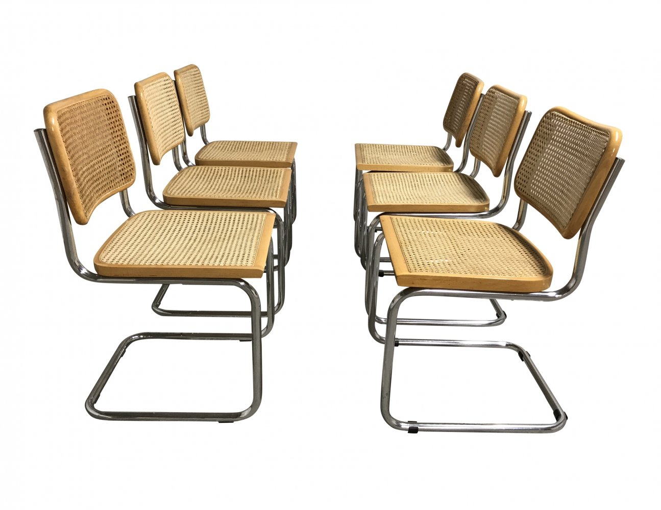 Set of 6 Vintage Marcel Breuer Cesca chairs, Italy 1970s