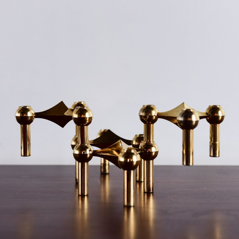 Set of 4 modular BMF candleholders in brass plated metal