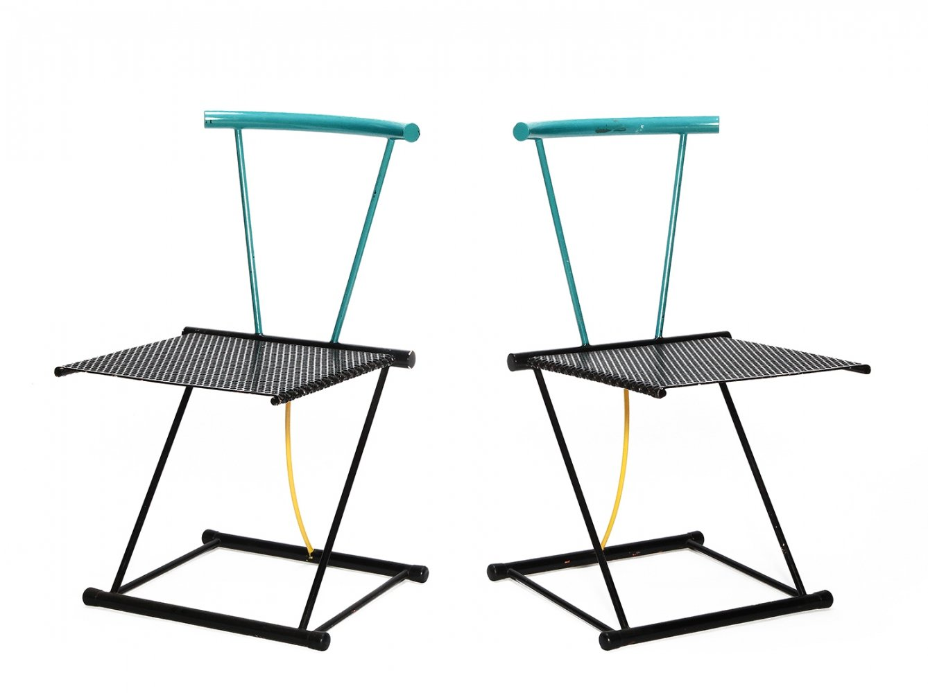 Pair of Vintage heavy metal Memphis style chairs, 1980s