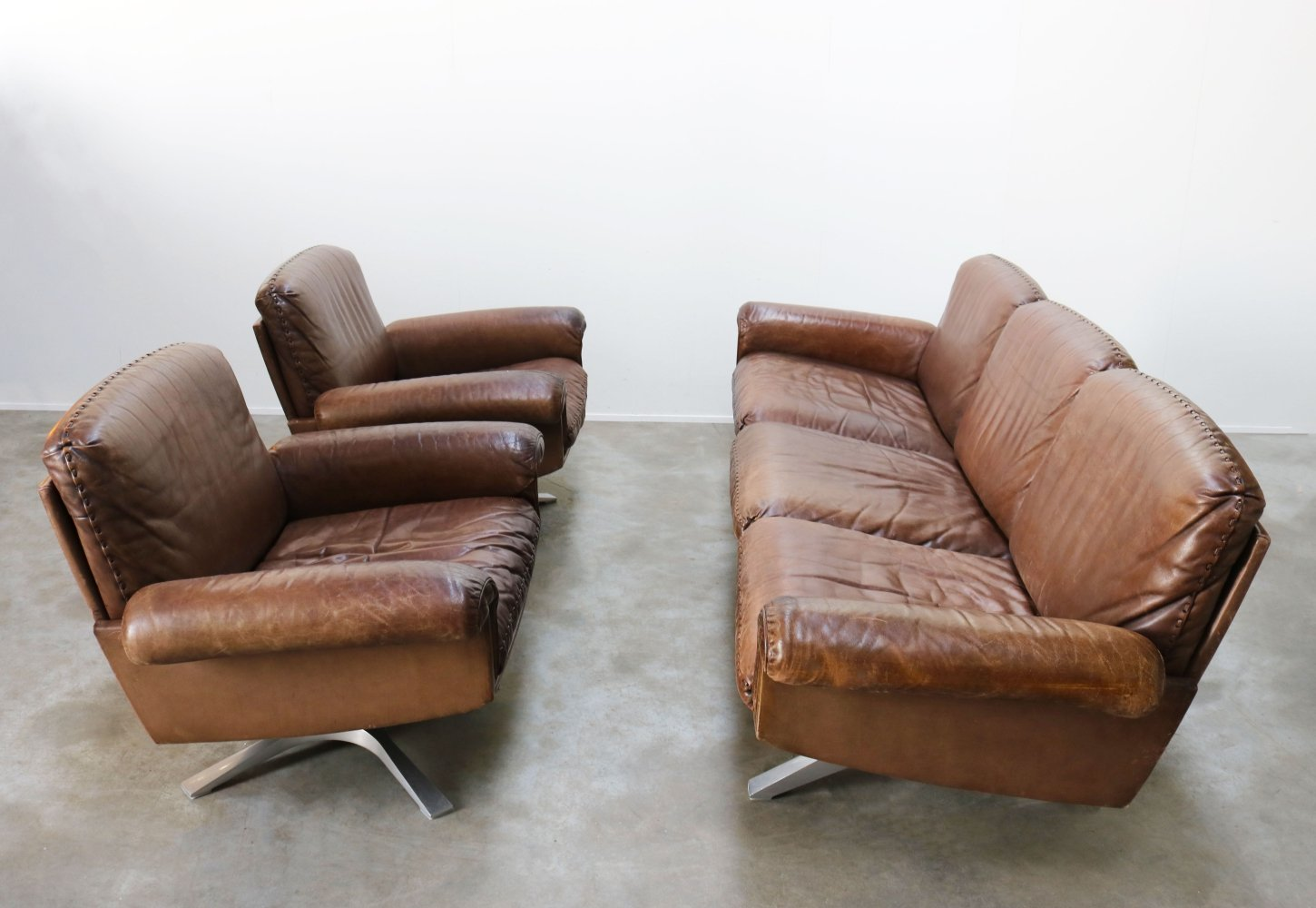 Swiss design leather DS-31 Seating group / Living room set by De Sede, 1970