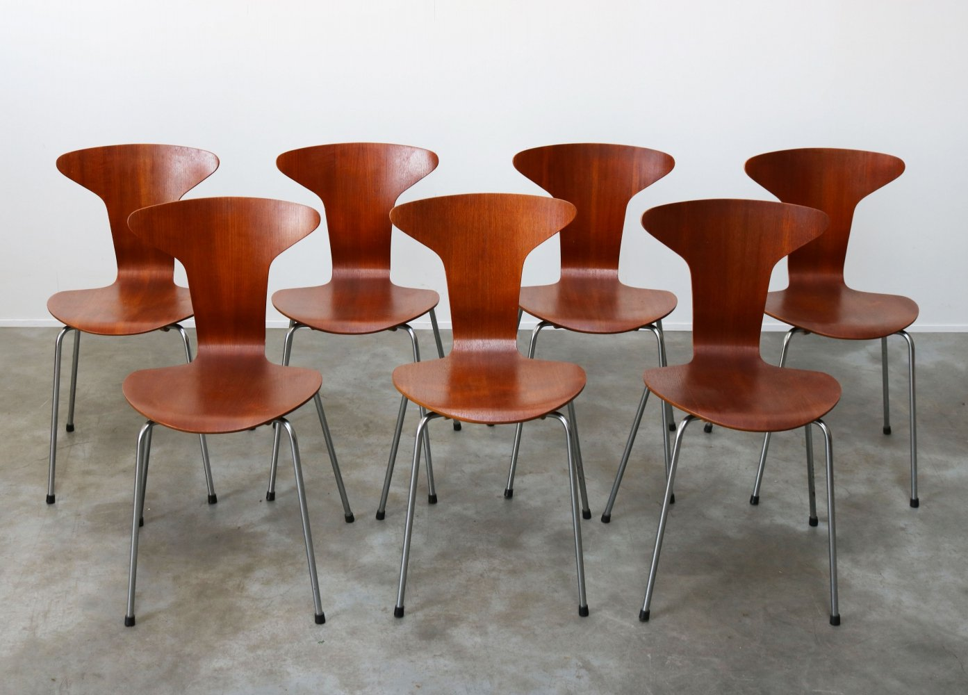 Set of 7 Mosquito / Model 3105 Chairs in teak by Arne Jacobsen for Fritz Hansen