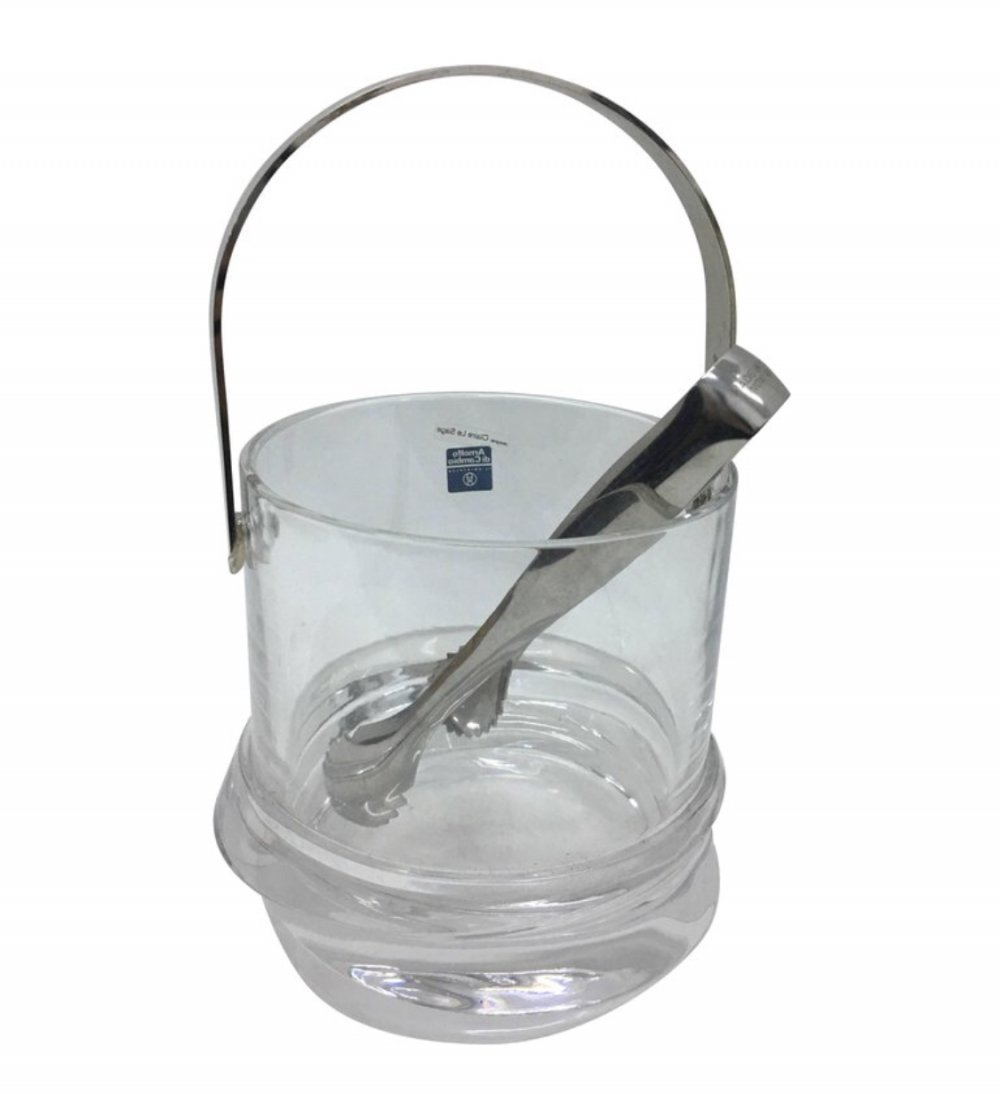 Claire Le Sage Italian Crystal & Silver Plate Ice Bucket for Arnolfo di Cambio