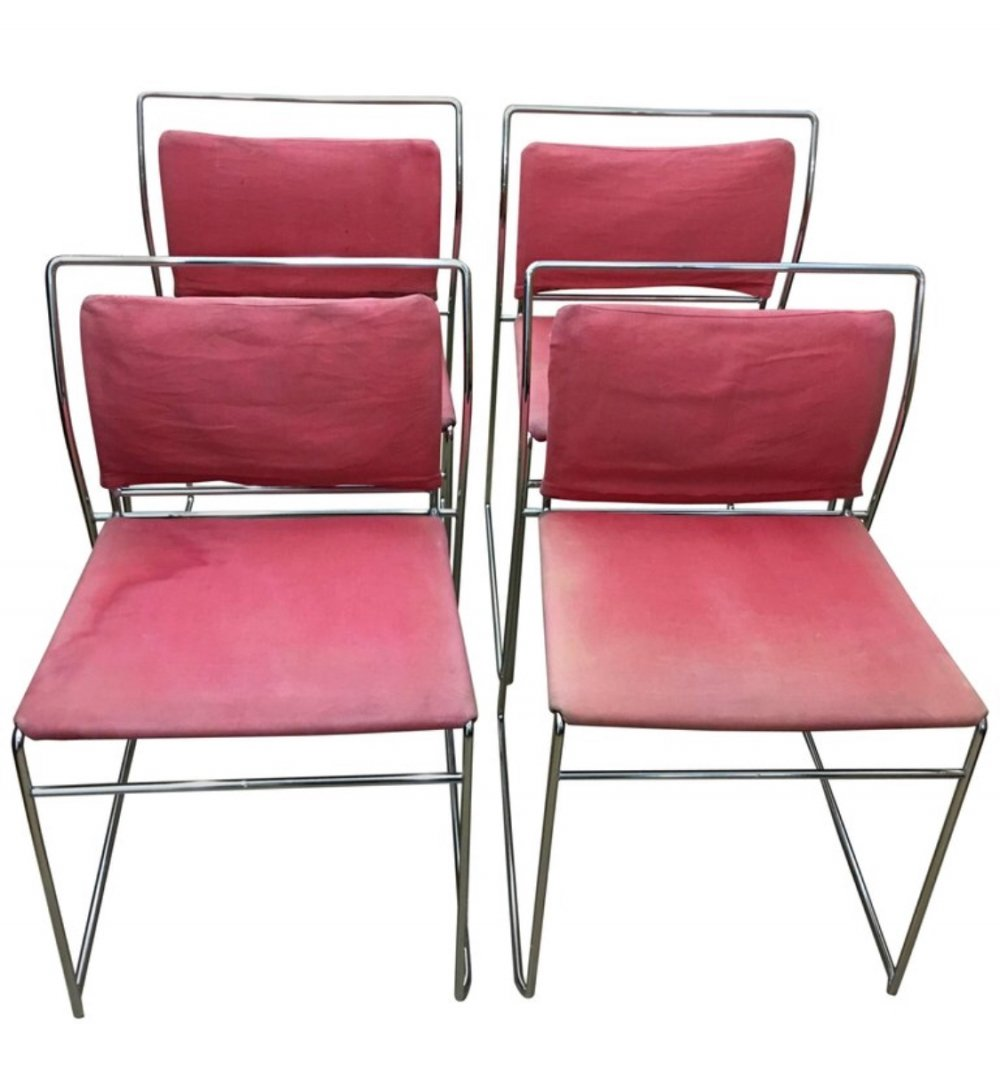 Kazuhide Takahama Italian set of 4 Steel Tulu Chairs for Simon Gavina, 1969