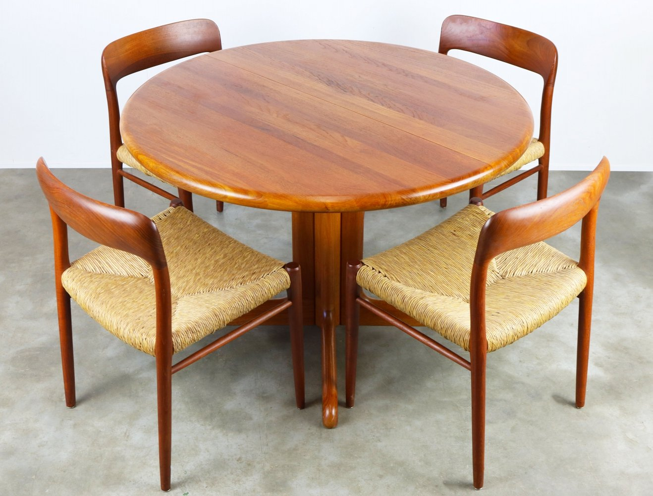 Danish dining room set in Solid teak & Cane by Niels Otto Moller, 1950s