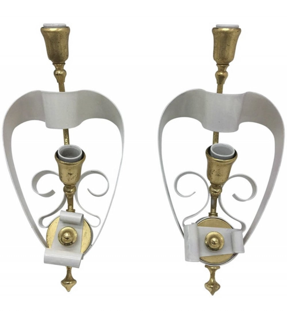 Mid-Century Modern Italian Brass & White Painted Metal Wall Sconces, 1950s