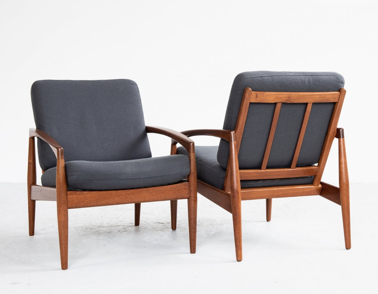 Pair of Paper Knife arm chairs by Kai Kristiansen for Magnus Olesen, 1960s