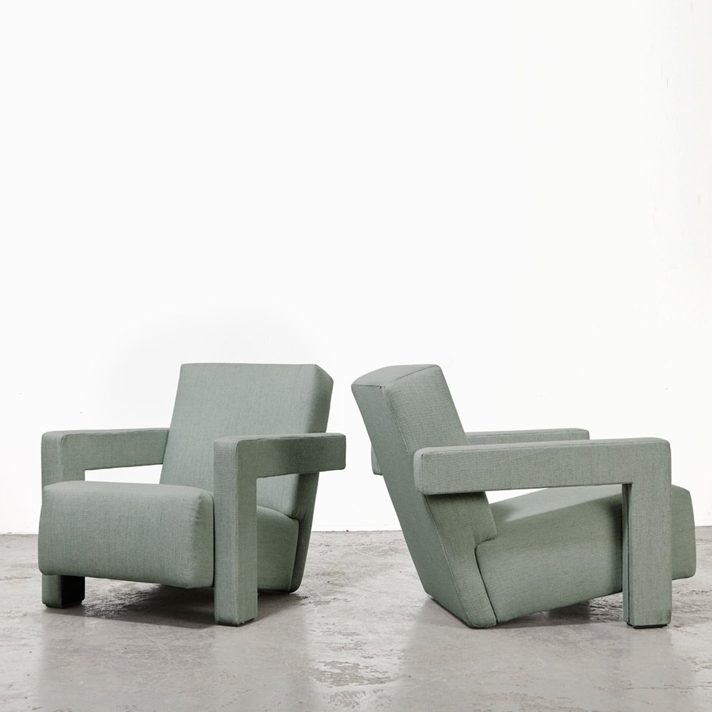 Gerrit Rietveld Pair of Utrecht Lounge Chairs for Cassina, 1935/1988