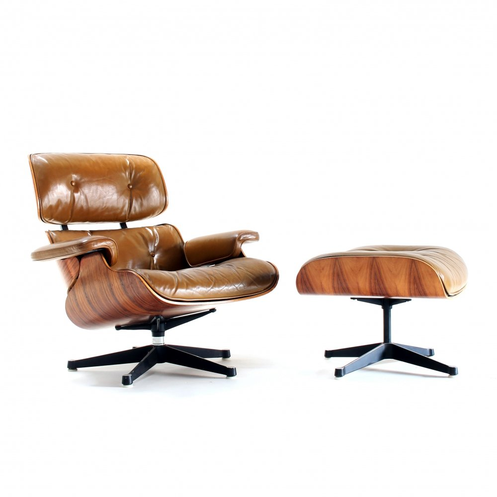 Rare cognac leather & rosewood lounge chair by Charles & Ray Eames for Mobilier International, 1970s
