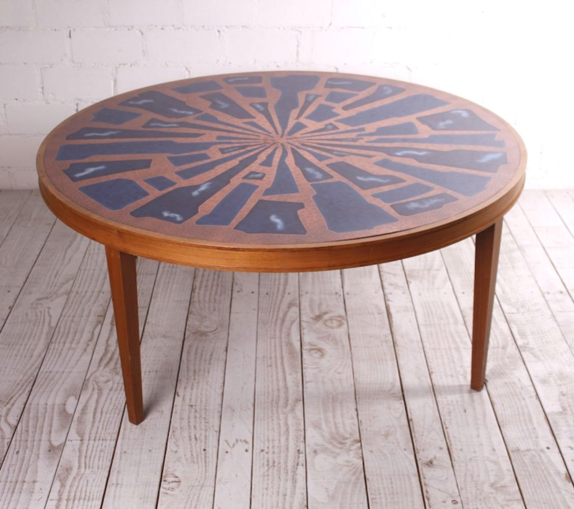 XL Brutalist copper & glass Coffee Table, 1960s