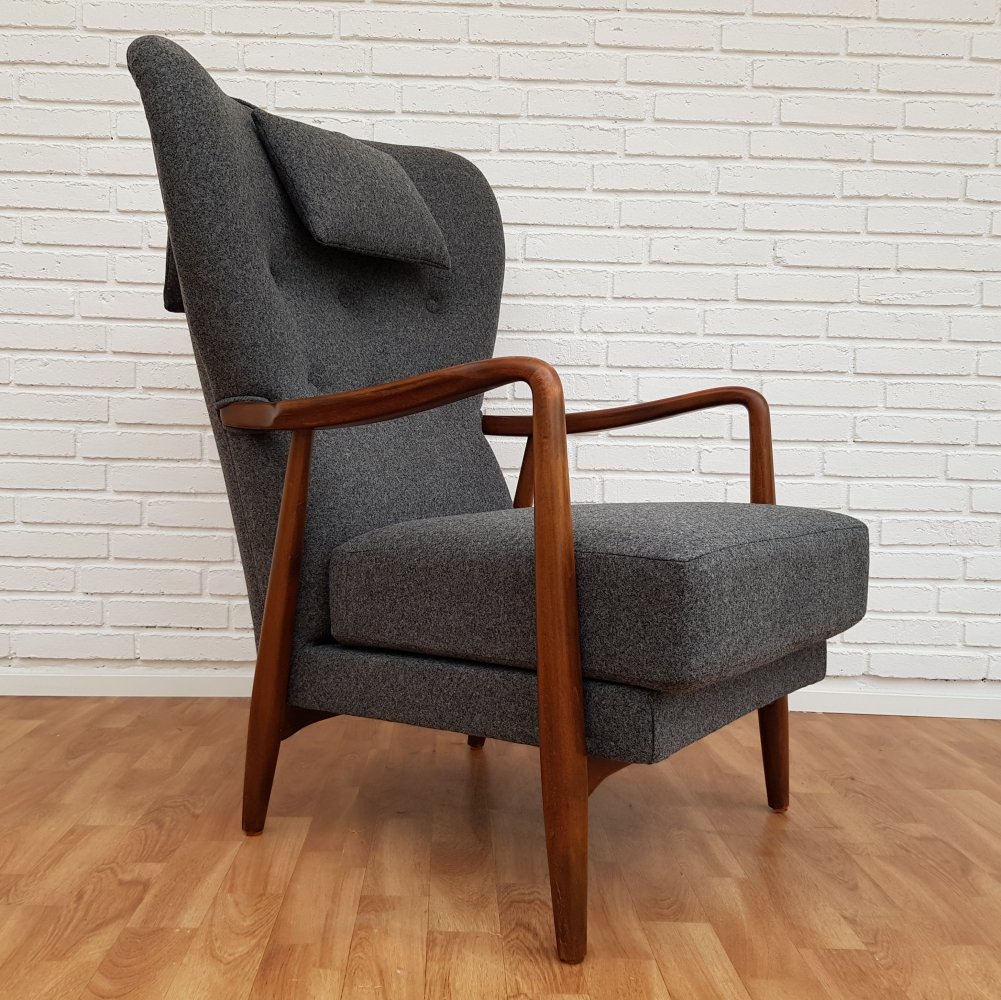 Danish designed high-back armchair with neck pillow, 1960