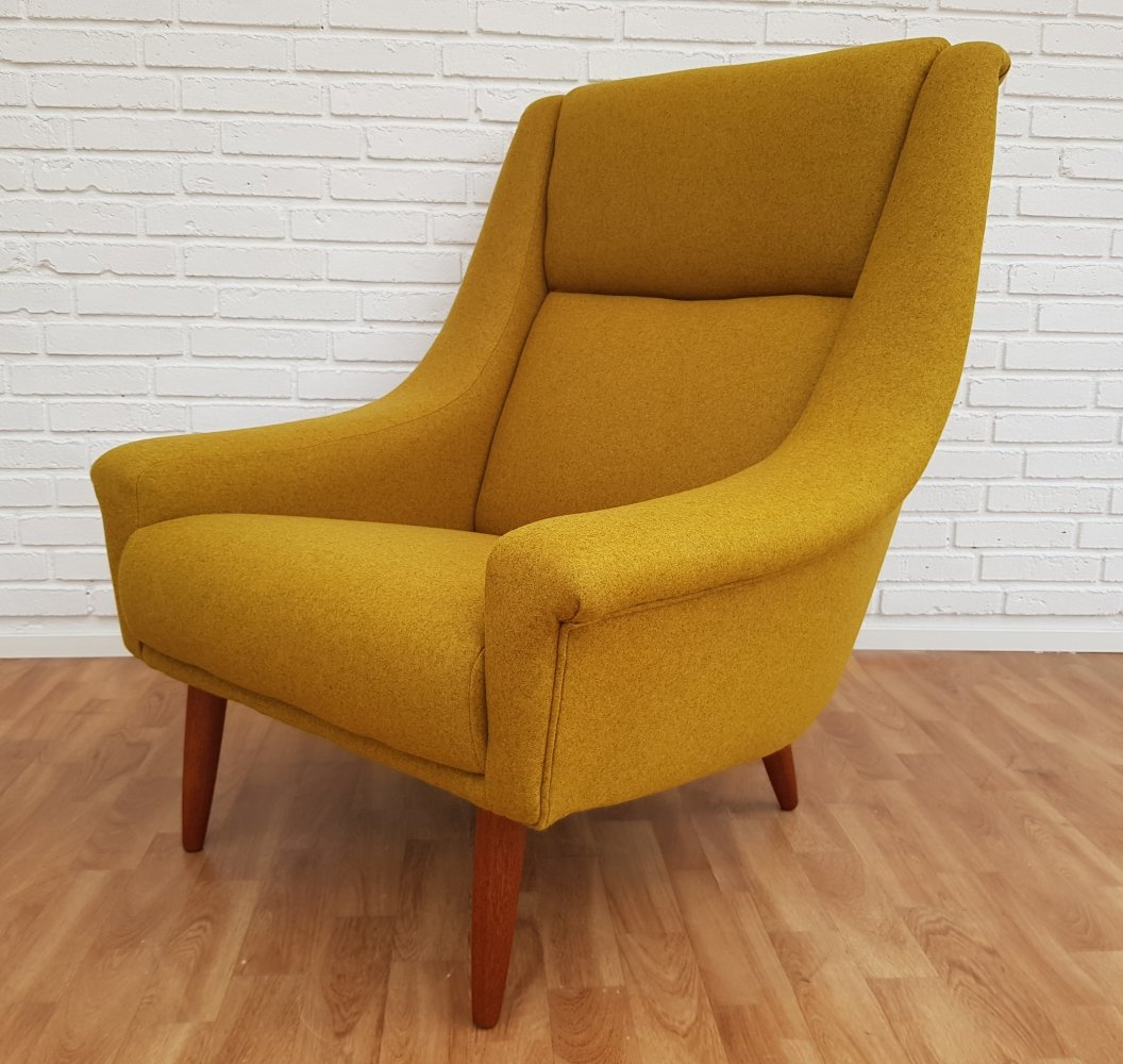 Danish high-backed armchair in teak & wool, 1970s