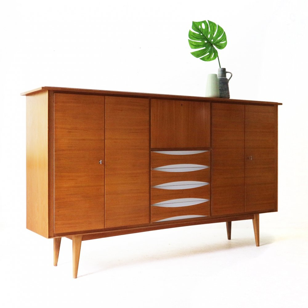 Mid-Century Walnut Highboard, 1950s