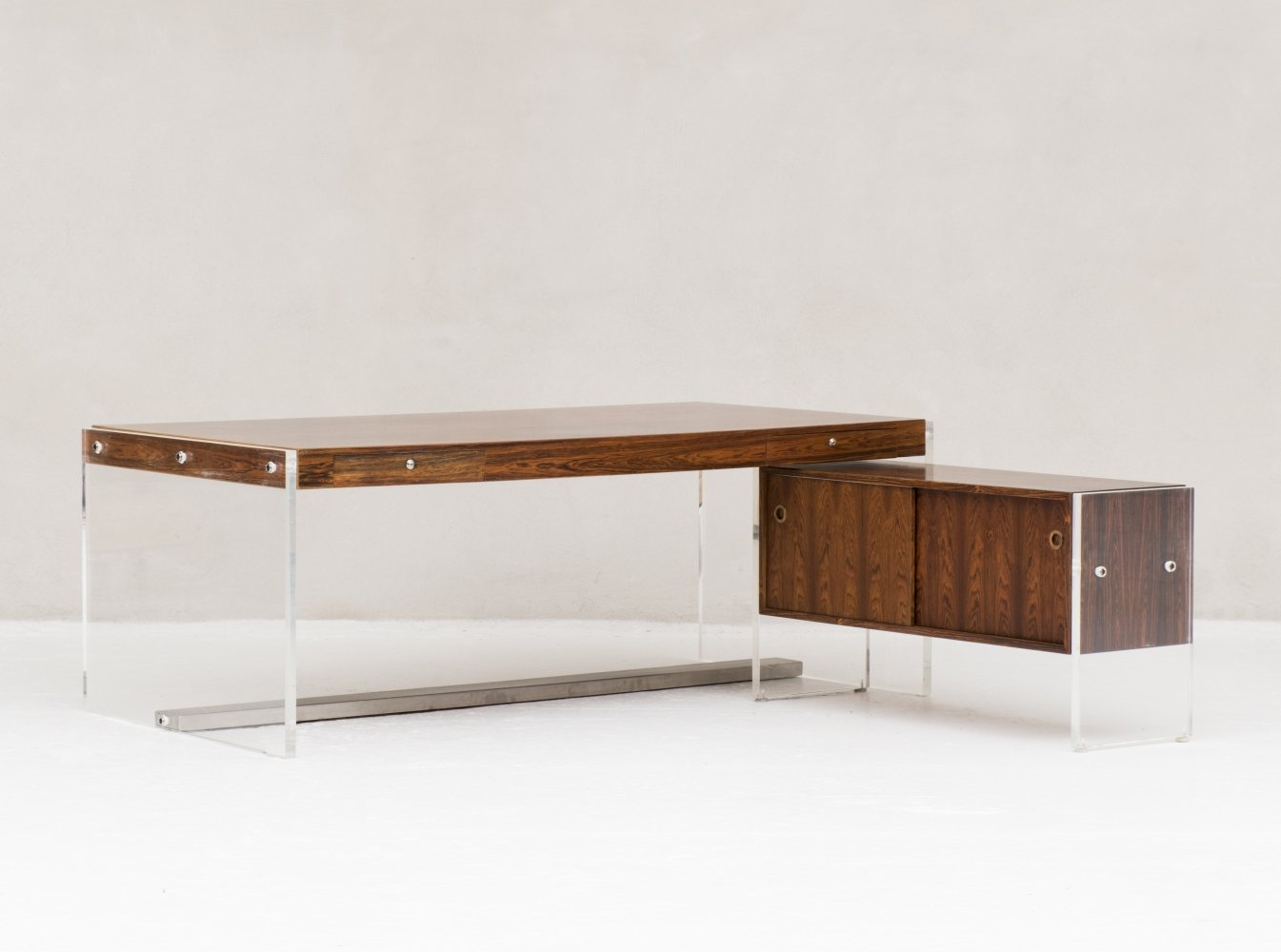Rosewood writing desk with dresser produced in Denmark, 1960