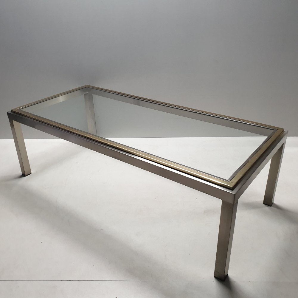 Vintage chrome & brass coffee table with a glass top