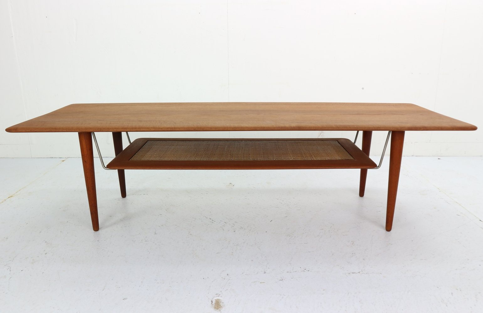 M-FD516 Coffee Table with Cane Shelf by Peter Hvidt & Orla Mølgaard Nielsen, 1956