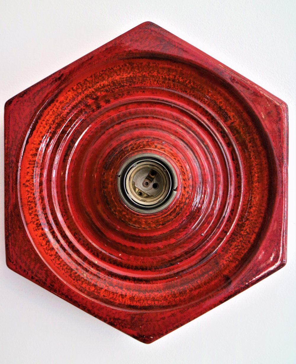 Pair of red ceramic wall lamps by Hustadt Leuchten, 1970s