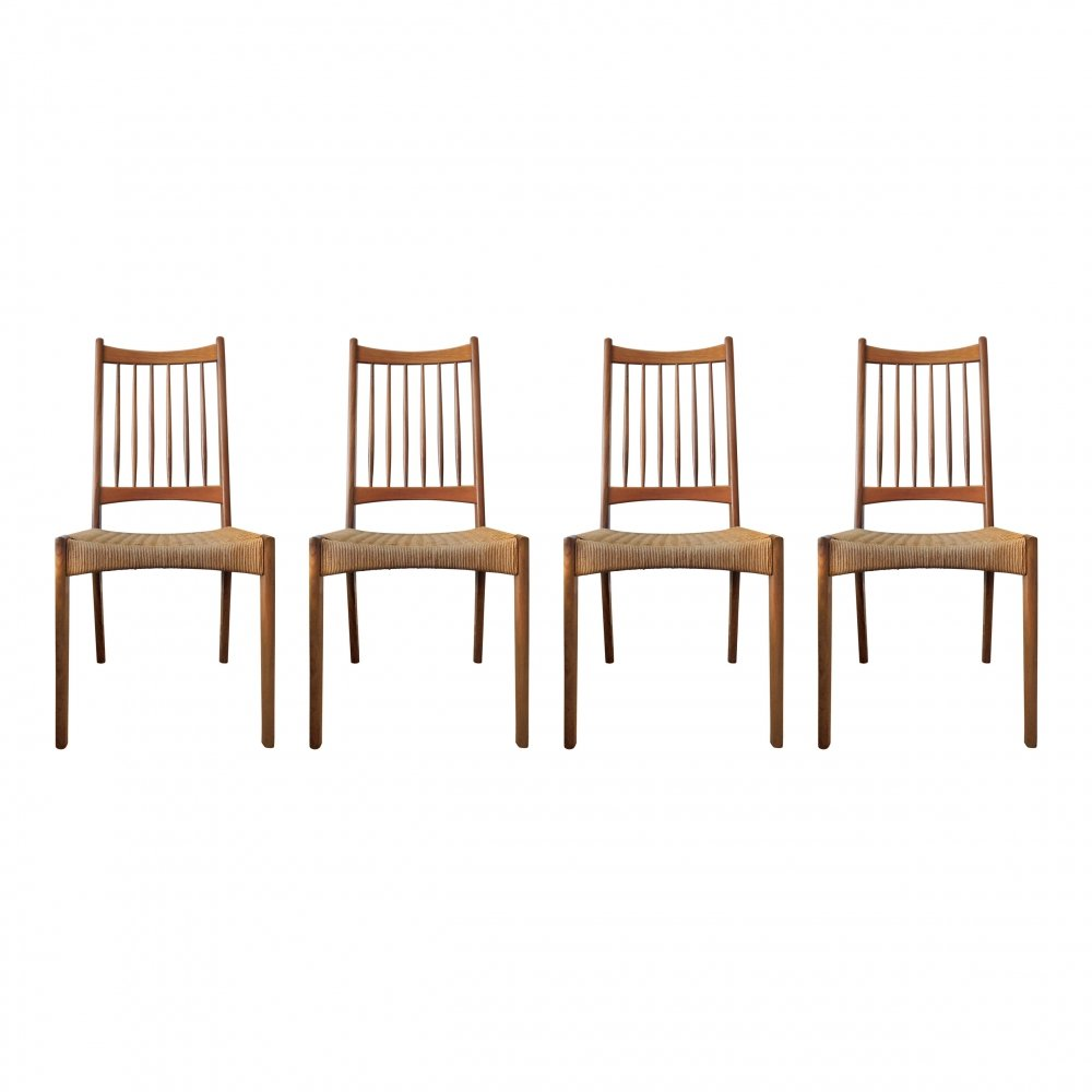 Set of 4 Vintage Danish Teak & Paper Cord Dining Chairs