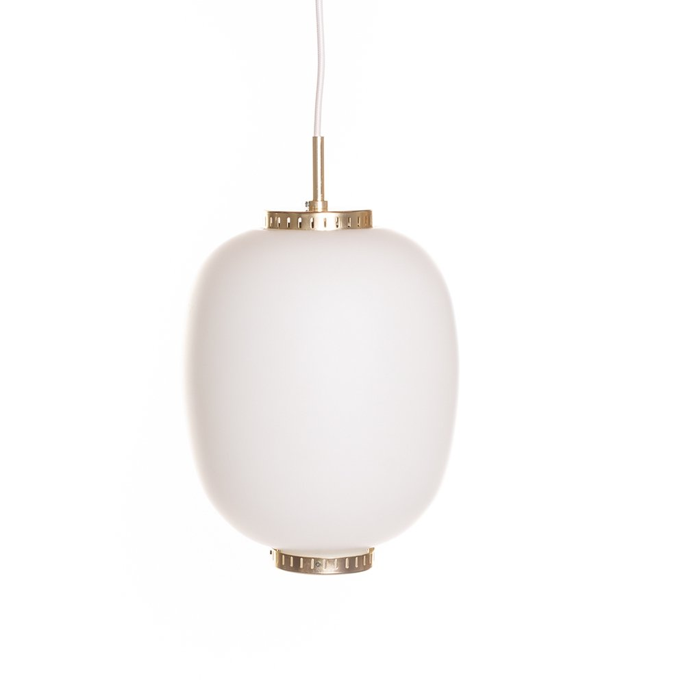Vintage Kina pendant by Bent Karlby for Lyfa in opaline glass & brass, 60