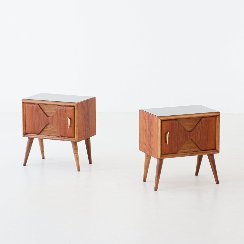 Italian Modern Exotic Wood Brass & Glass Bedside Tables, 1950s