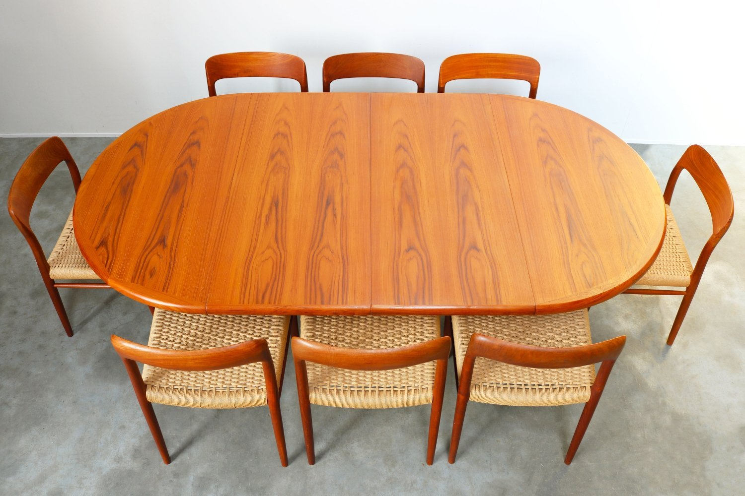 Large Danish dining room set in Teak & Papercord by Niels Otto Moller, 1950