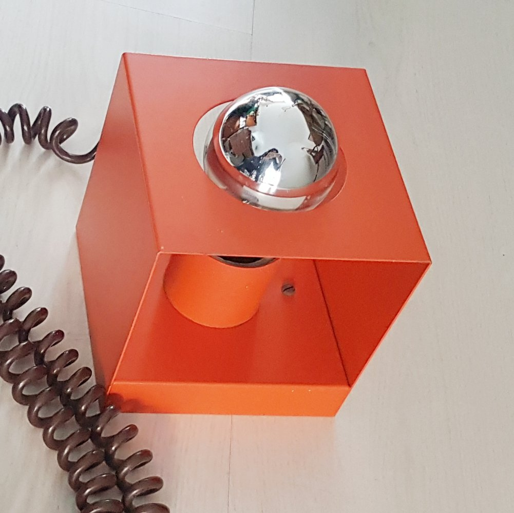 Orange Cube desk or wall lamp by Philips, 1970s