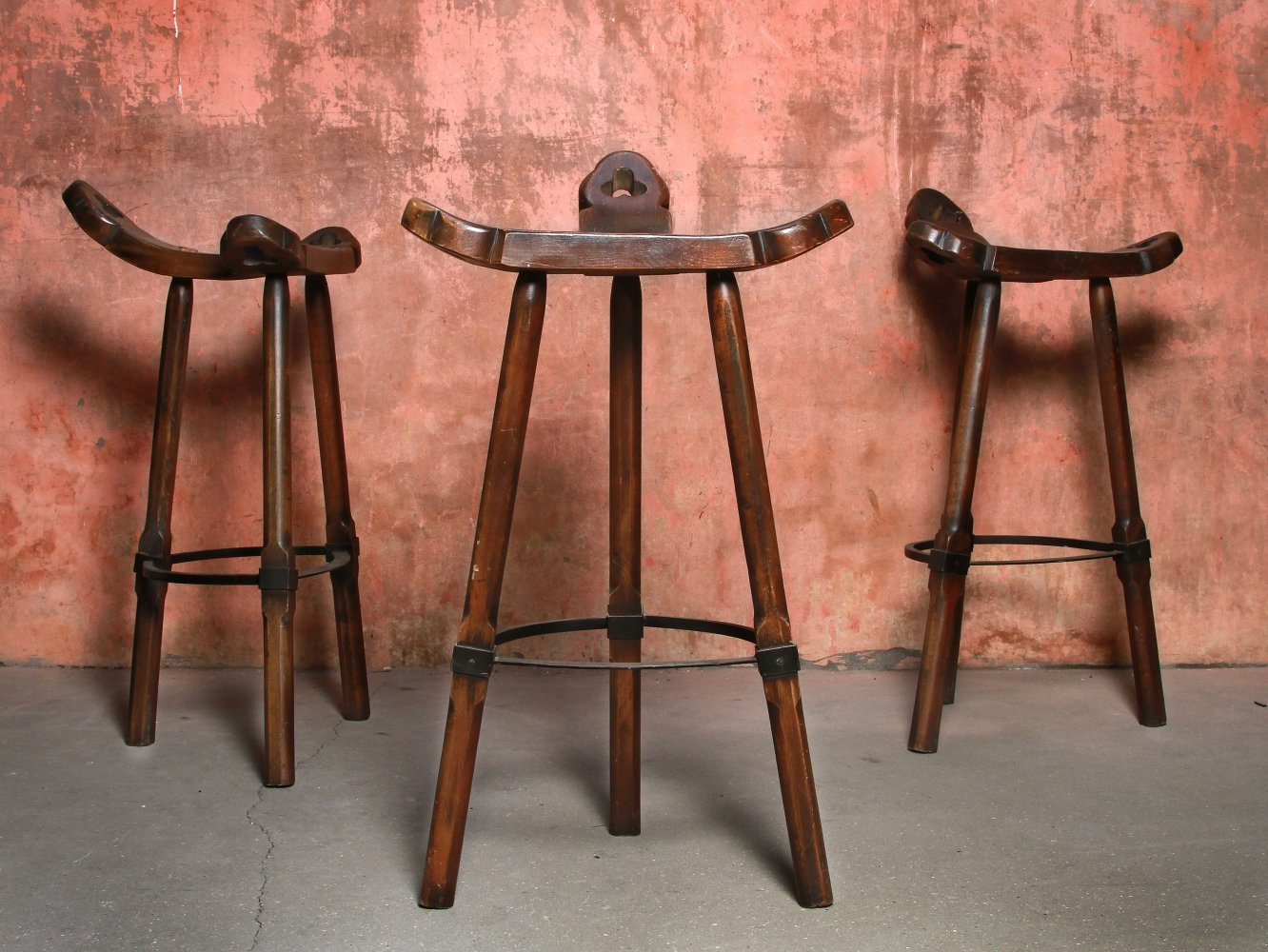 Set of Spanish Brutalist Bar Stools, 1970s