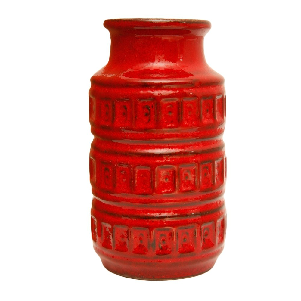 Small red vase by Scheurich Germany, 1970s