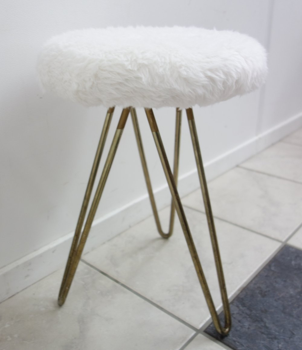 White stool with hairpin legs, 1950s