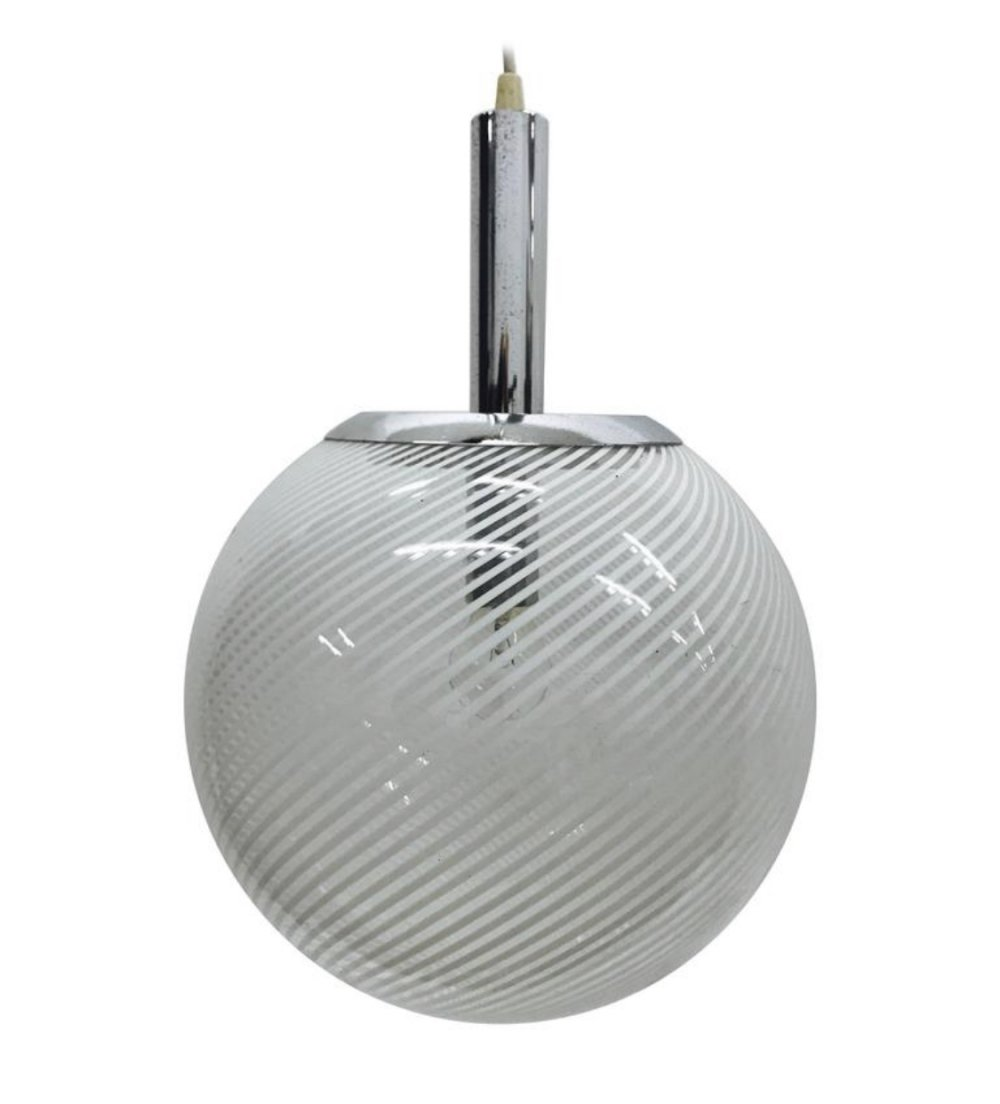 Space Age Italian glass & chrome Pendant by Venini, circa 1965