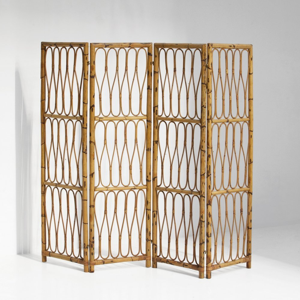 Highly decorative folding screen made in the 1950s