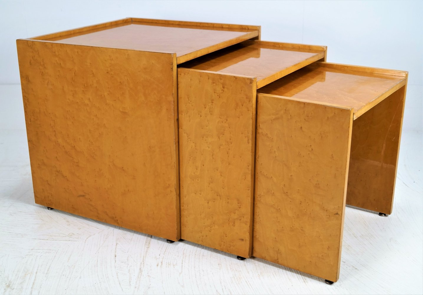 Karelian birch nesting tables, 1970s