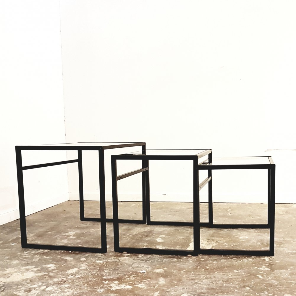 IKEA three piece nesting tables set with glass tops, 1970s