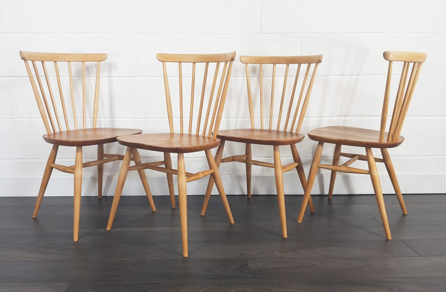 Set of 4 Windsor Bow Top Dining Chairs by Lucian Ercolani for Ercol, 1960s