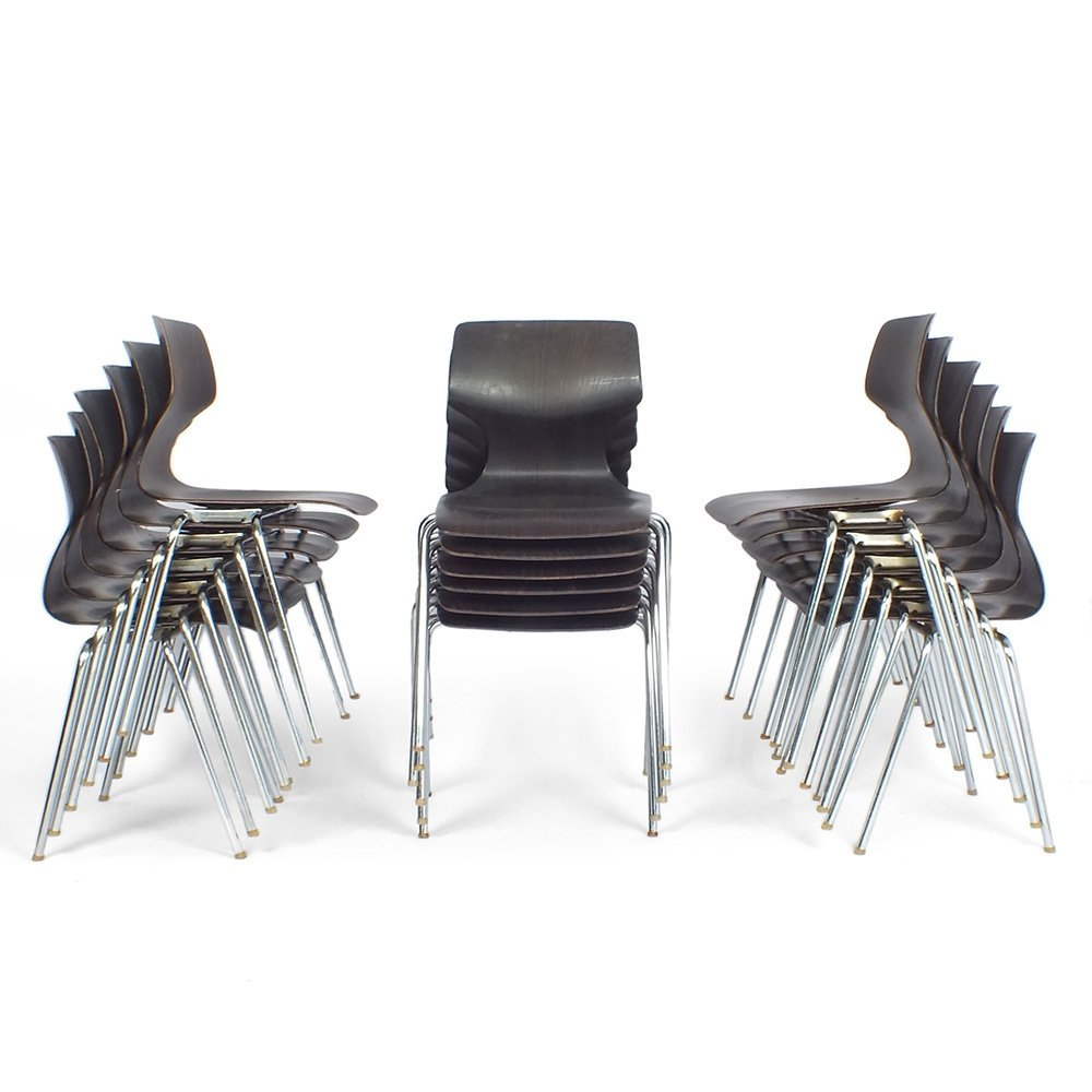 Stackable chairs by Elmar Flötotto for Pagholz Flötotto, 1960s