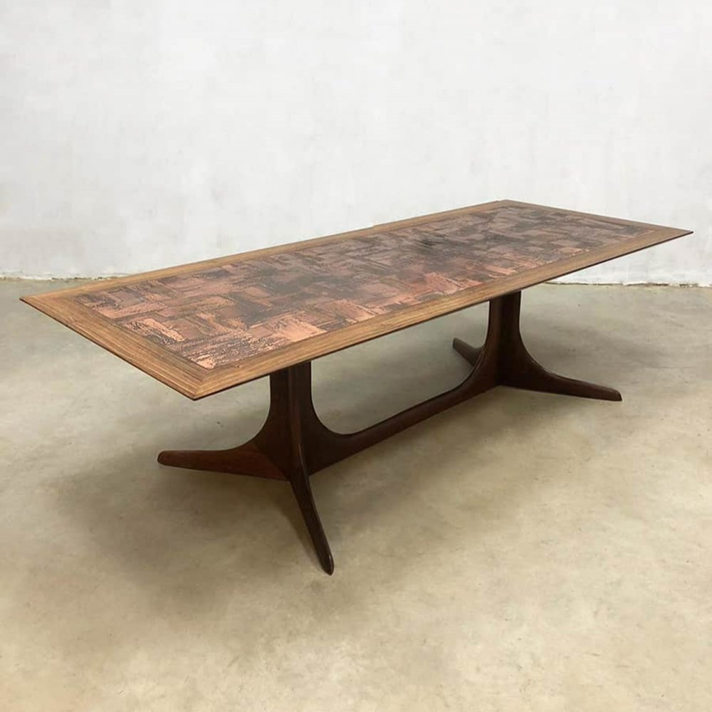 Midcentury rosewood & copper coffee table