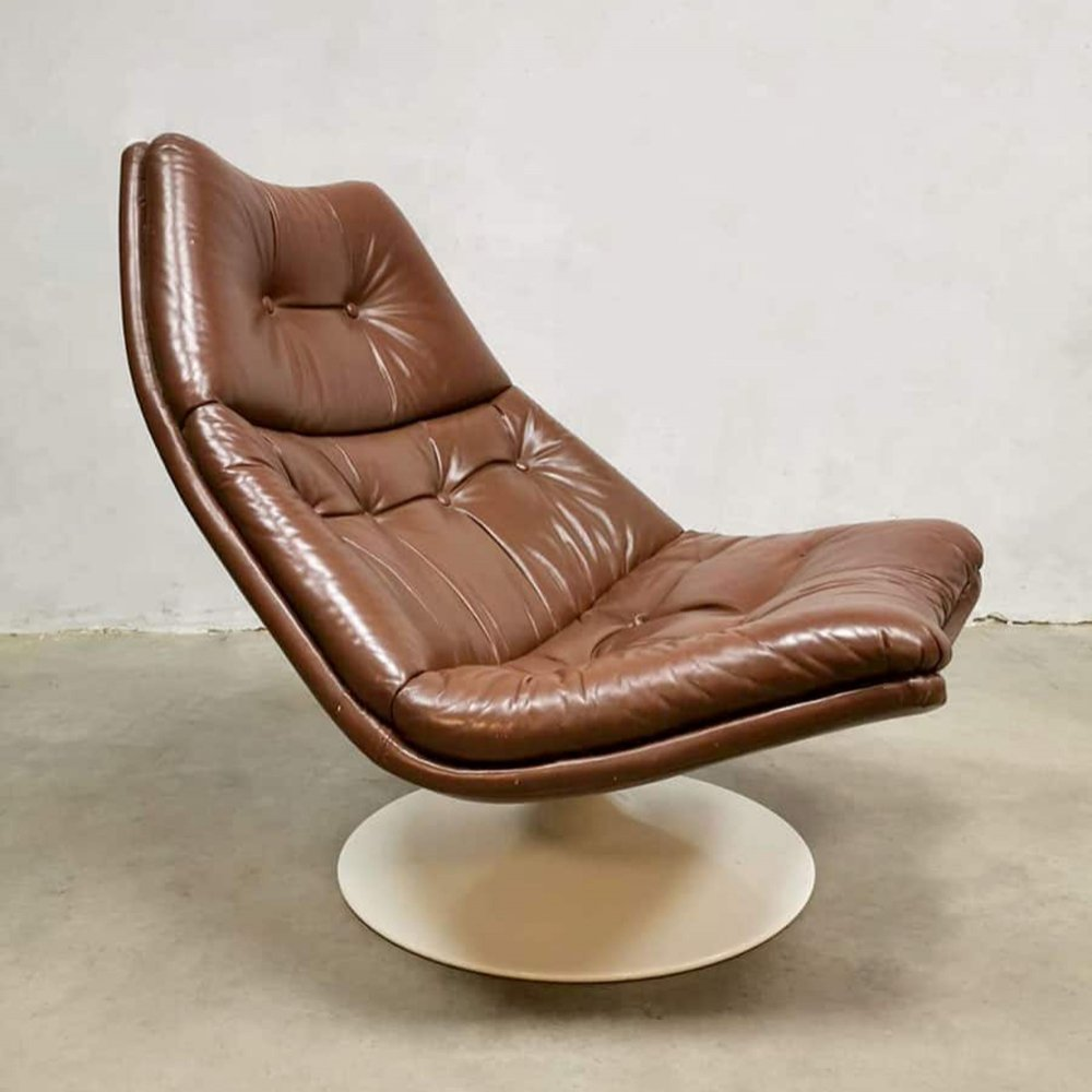 Vintage leather F511 swivel chair by Geoffrey Harcourt for Artifort, 1960s