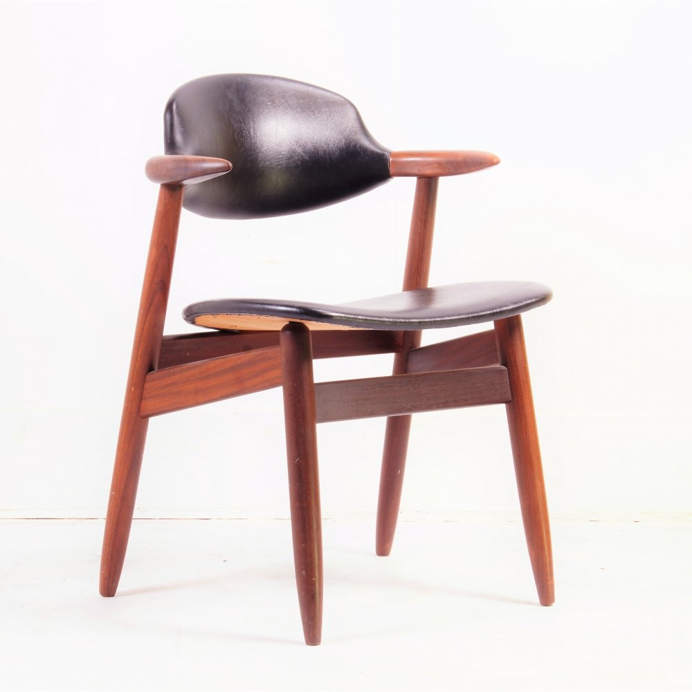 Solid teak 'Bullhorn' Dining Chair by Tijsseling, 1950s