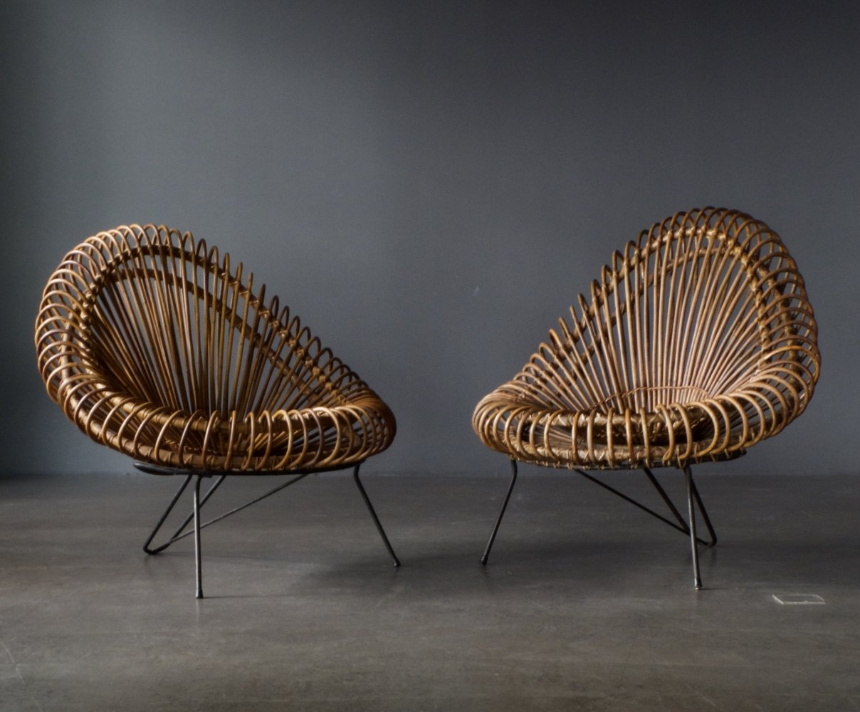 Pair of Basketware Lounge Chairs by Janine Abraham & Dirk Jan Rol for Rougier, 1950s