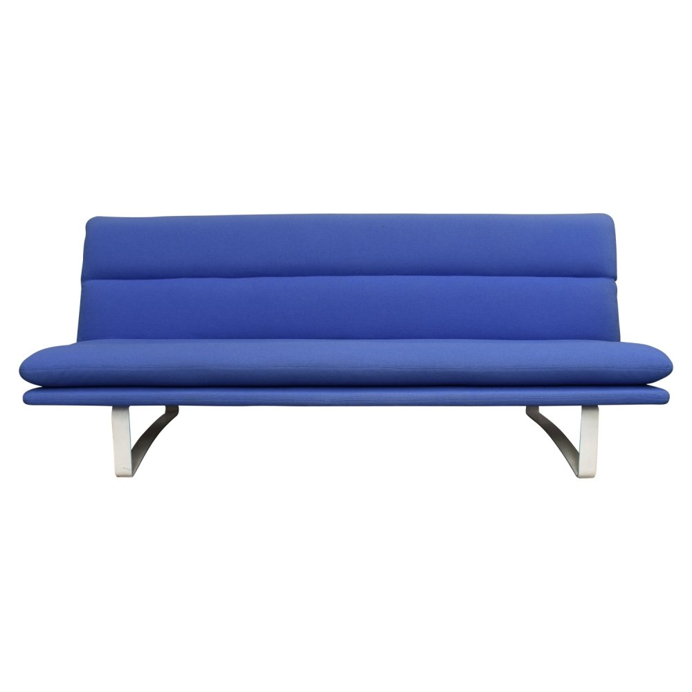 Blue kvadrat fabric c683 sofa by Kho Liang Ie for Artifort, 1980s