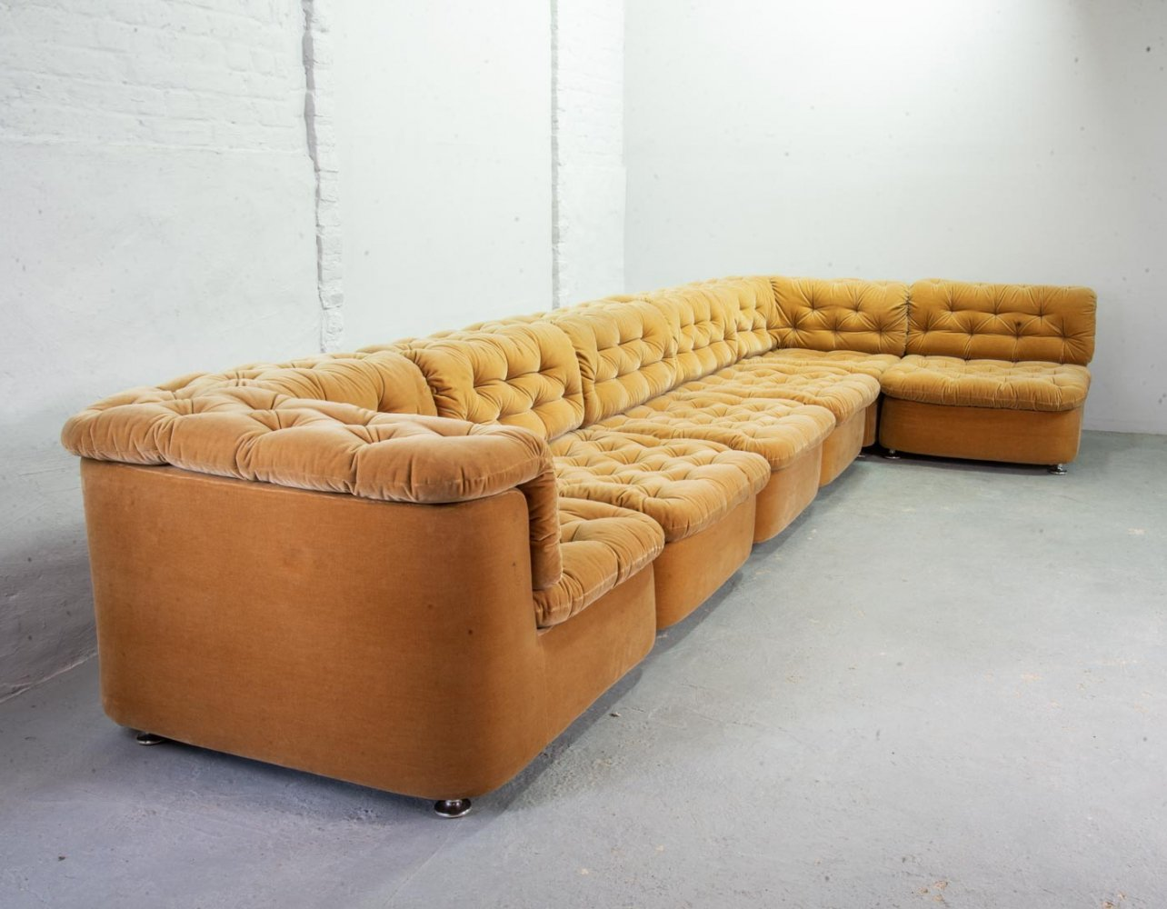 Modular Lounge Sofa in Peach Velvet with 6 elements by Dreipunkt, Germany 1970s