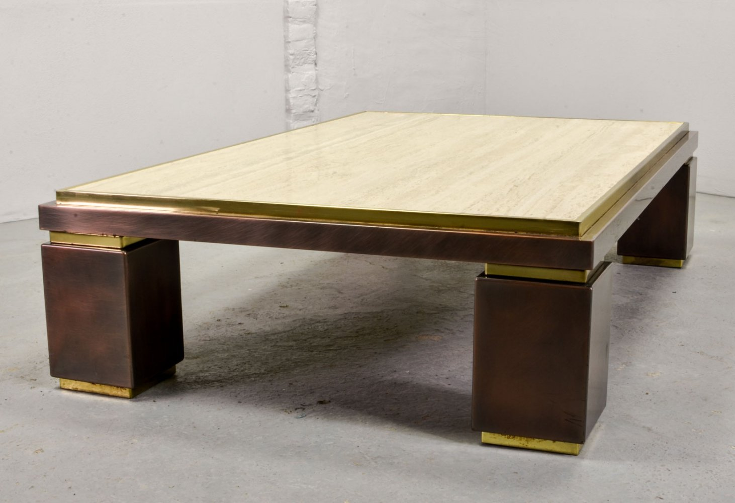 Large Travertine Dewulf Selection Coffee Table by Belgo Chrome, 1970s