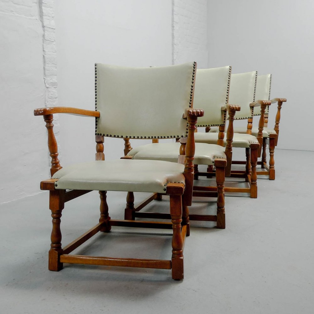 Dutch Design White Leatherette Arm Chairs by Theo Ruth for Artifort, 1950s