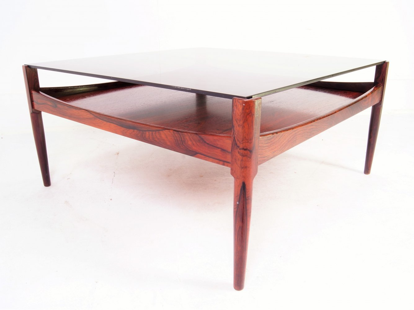 Rosewood coffeetable with smoked glass tabletop