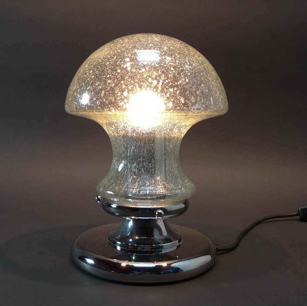 Mid-Century Design Chrome & Glass Mushroom Table Lamp by Baum Leuchten, 1970s