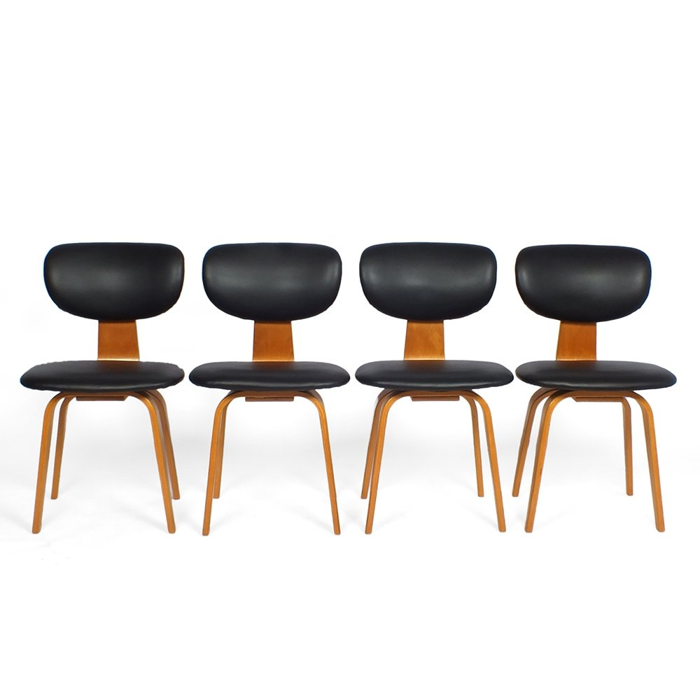 Set of four SB02 dining chairs by Cees Braakman for Pastoe, 1952