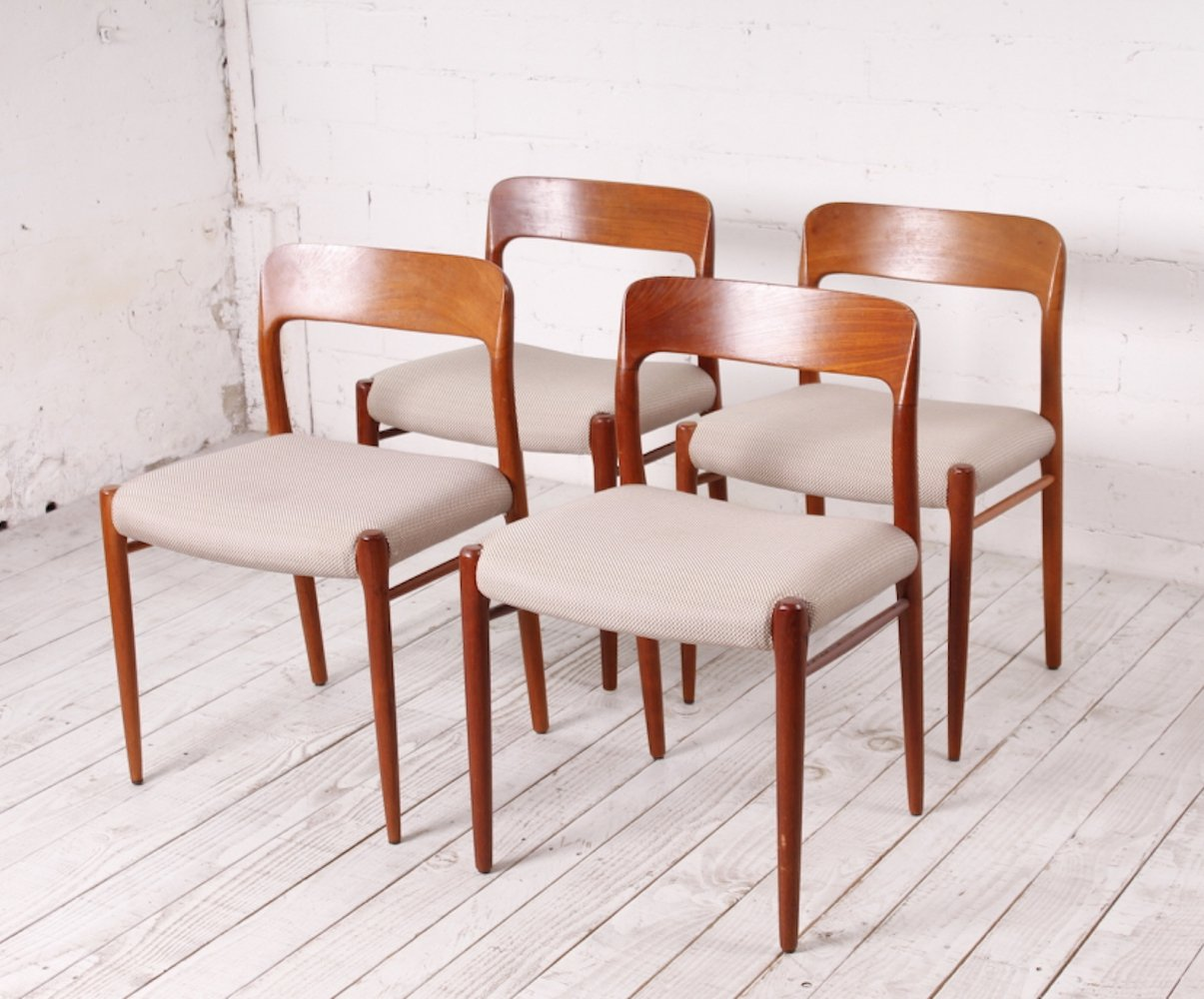 Set of 4 Teak Dining Chairs no 75 by Niels Otto Møller, 1960s