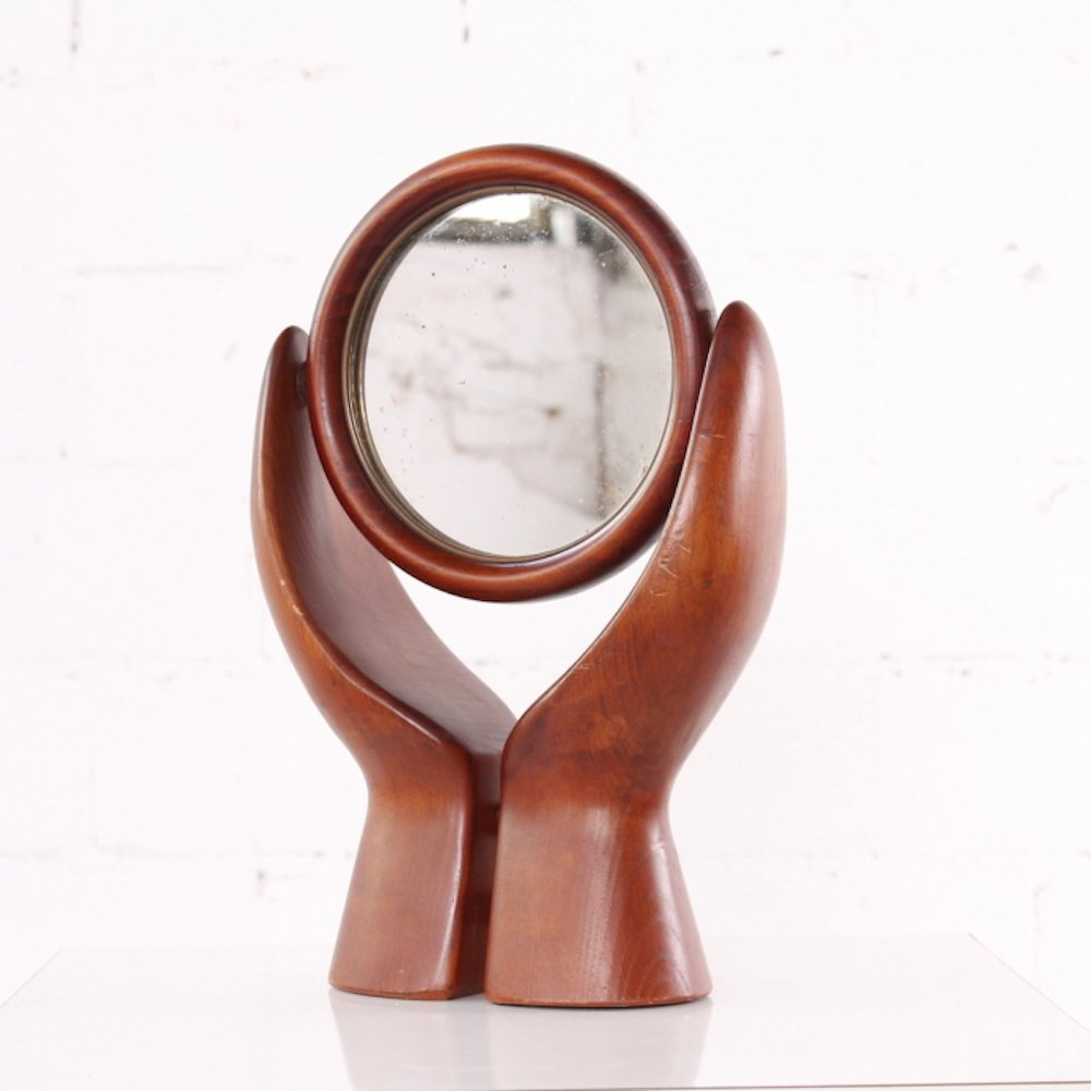 Vintage Table Mirror made if wood, 1950s